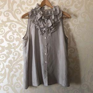 J. Crew sleeveless blouse with ruffles